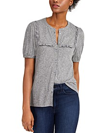 Cotton Ruffled-Bib Top
