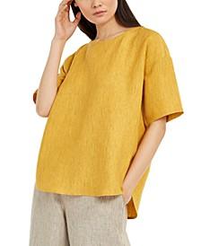 Organic Linen Boxy Top, Regular & Petite Sizes