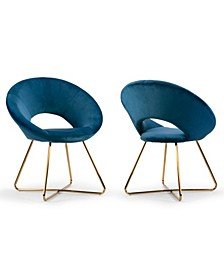 Set of 2 Amor Velvet Dining Chair with Metal Legs