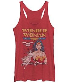 DC Wonder Woman Retro Logos Tri-Blend Women's Racerback Tank