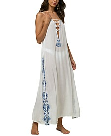 Juniors' Azul Embroidered Maxi Dress Cover-Up