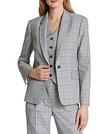 Windowpane-Print One-Button Blazer
