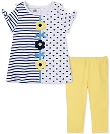 Baby Girls 2-Pc. Stripes & Dots Top & Leggings Set