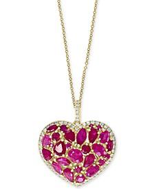"EFFY® Certified Ruby (4-3/4 ct. t.w.) & Diamond (1/3 ct. t.w.) Heart 18"" Pendant Necklace in 14k Gold"