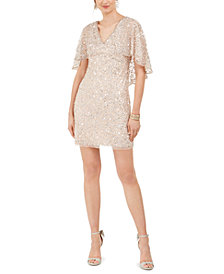 Adrianna Papell Sequined Capelet Dress