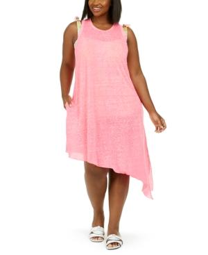 Trendy Plus Size Beach Date Asymmetrical Cover-Up Dress Women's Swimsuit