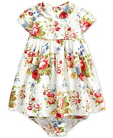 Baby Girls Floral Cotton Dress & Bloomer