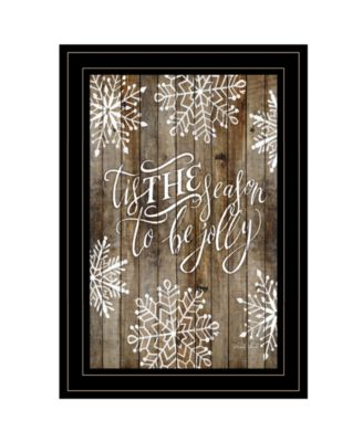 Tis the season Snowflakes by Cindy Jacobs, Ready to hang Framed Print, Black Frame, 11
