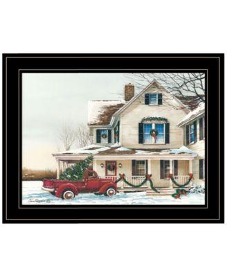 Preparing for Christmas by John Rossini, Ready to hang Framed Print, Black Frame, 19