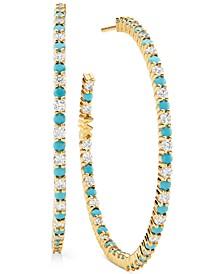 """Gold-Tone Crystal & Imitation Turquoise Inside Hoop Medium Hoop Earrings, 1.6"""""""