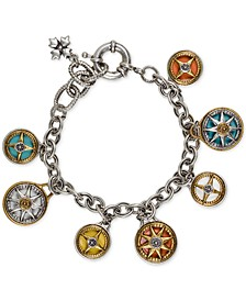 Two-Tone Crystal Compass Charm Bracelet