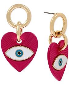 Gold-Tone Evil Eye Heart Drop Earrings