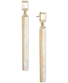 Gold-Tone Stone Stick Drop Earrings