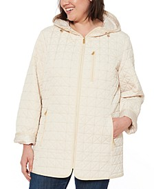 Plus Size Water-Resistant Hooded Quilted Jacket