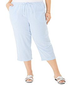 Plus Size Seersucker Crop Pants, Created for Macy's