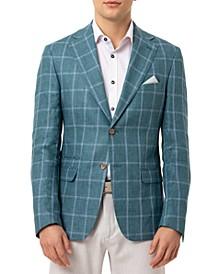 Orange Men's Slim-Fit Teal Windowpane Linen Sport Coat