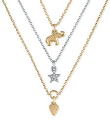 """Two-Tone Three-Row Pendant Necklace, 18"""" + 2"""" extender"""