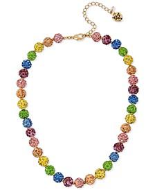 """Gold-Tone Multicolor Pavé Fireball Collar Necklace, 17"""" + 3"""" extender"""