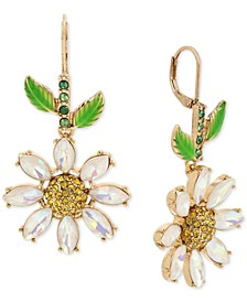 Gold-Tone Crystal Daisy Drop Earrings