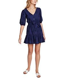 Eyelet-Embroidered Ruffled-Hem Mini Dress