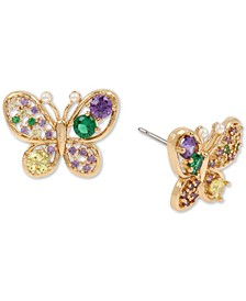 Gold-Tone Multicolor Crystal Butterfly Stud Earrings