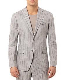 Men's Slim-Fit Wide Stripe Light Gray Linen Suit Separate Jacket