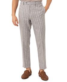 Men's Slim-Fit Wide Stripe Light Gray Linen Suit Separate Pants