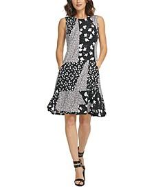 Patchwork-Print Fit & Flare Dress