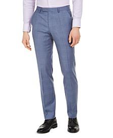 Men's Modern-Fit Blue Plaid Wool Suit Pants