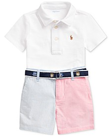 Baby Boys Cotton Polo Shirt, Belt & Shorts Set