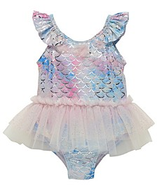 Infant Girls One Piece Bathing Suit Featuring Iridescent Mermaid Scales Print Accented with Tulle Skirt and Poufs