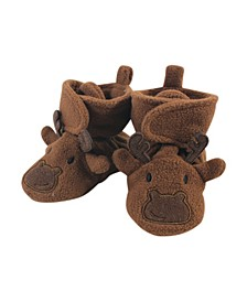 Baby Girls and Boys Moose Cozy Fleece Booties