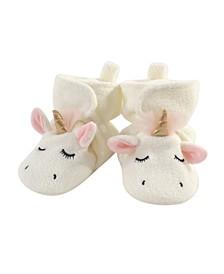 Baby Toddler Girls Modern Unicorn Cozy Fleece Booties