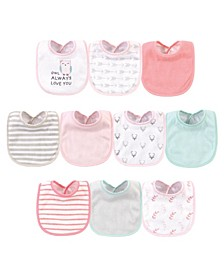 Baby Girls Owl Always Love You Polyester Bibs, Pack of 10