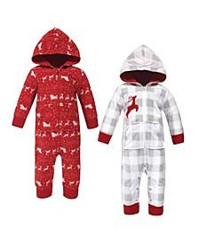 Baby Girls and Boys Santas Sleigh Fleece Coveralls and Playsuits Jumpsuits, Pack of 2