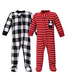 Baby Girls and Boys Christmas Dog Fleece Sleep and Play, Pack of 2