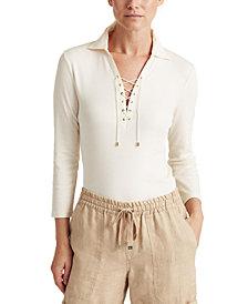 Lauren Ralph Lauren Lace-Up Long Sleeve Top