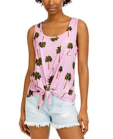 Rebellious One Juniors' Palm Tree Tie-Front Tank Top