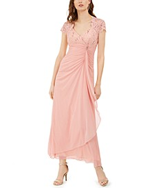 Petite Sequined Ruffled Gown