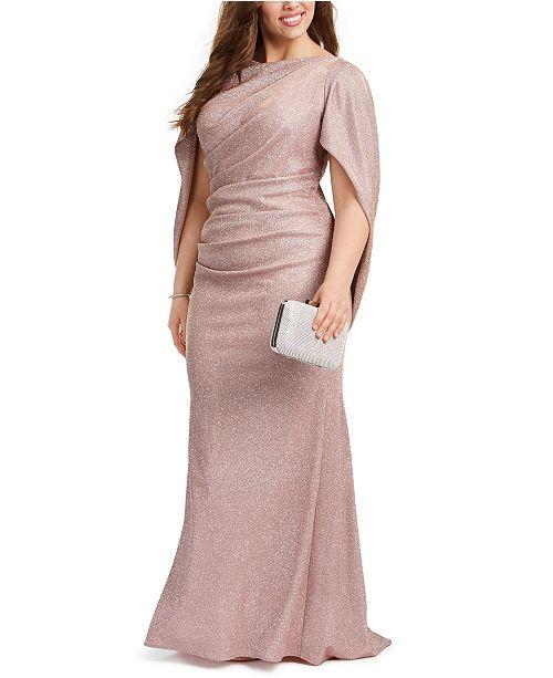 Betsy & Adam Plus Size Galaxy Glitter Draped Gown