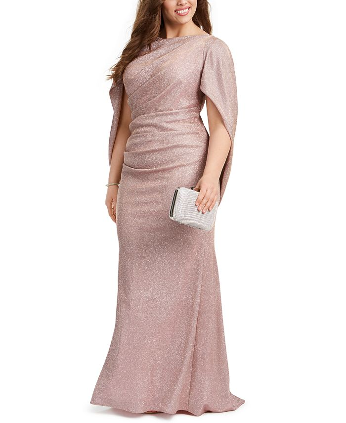 Betsy & Adam - Plus Size Galaxy Glitter Draped Gown
