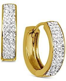 Crystal Small Huggie Hoop Earrings in Gold-Plate