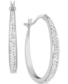 "Medium Fine Silver Plated Crystal Oval Hoop Earrings, 1-1/5"""