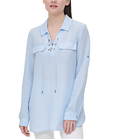 Calvin Klein Grommet Lace-Up Top