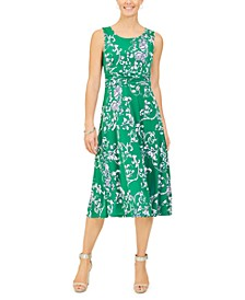 Petite Sleeveless Printed A-Line Dress