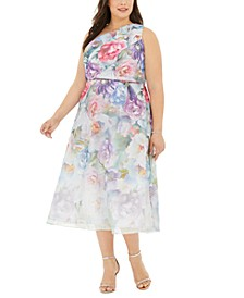Plus Size One-Shoulder Floral Organza Dress