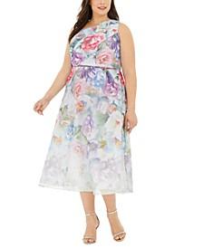 Plus Size One-Shoulder Floral Organza Dress