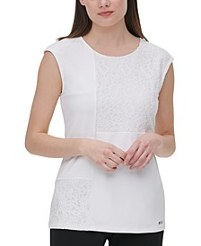 Sleeveless Lace-Trim Top