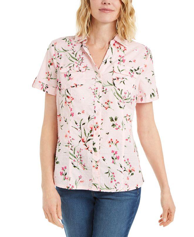 Karen Scott Plus Size Floral Print Cotton Shirt, Created for Macy's