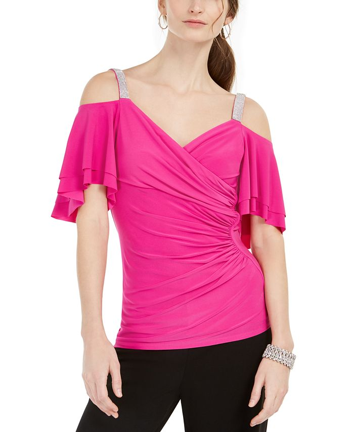 MSK - Rhinestone Cold-Shoulder Top